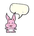 cartoon rabbit with speech bubble vector image vector image