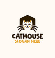 cat house home logo design template vector image