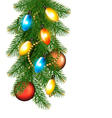 Christmas background with colorful garland baubles vector image