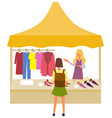 clothes store salesperson customer marketplace vector image vector image