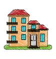 color crayon stripe cartoon facade comfortable vector image vector image