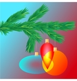 Colorful transparent Christmas ball on spruce vector image