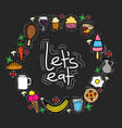 delicious food circular frame icons vector image
