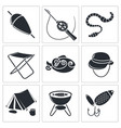 fishing icons set vector image vector image