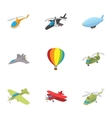 flying vehicles icons set cartoon style vector image vector image