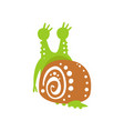 funny snail character back view cute green vector image vector image