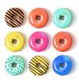 glazed colored donuts set 3d vector image