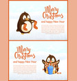 greeting card penguins with socks and gift vector image vector image