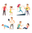 gym training set cartoon sport characters vector image vector image