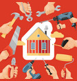 hand tool house construction handtools hammer vector image vector image