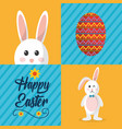 happy easter greeting card celebration festive vector image vector image
