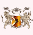 heraldic design with coat of arms griffin lion vector image vector image