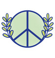 hippie emblem and branches with leaves design vector image vector image
