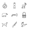 Hunting icons set outline style