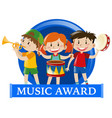 label design with kids playing music vector image
