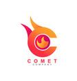 letter c comet meteor flame fire shape logo symbol vector image vector image