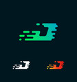 letter j modern speed shapes logo design vector image vector image