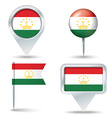 Map pins with flag of Tajikistan vector image vector image