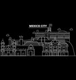 mexico silhouette skyline city mexican vector image vector image