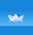 people group floating on paper boat rear view men vector image vector image
