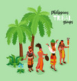 phillipine tribal groups poster vector image vector image