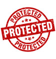 protected round red grunge stamp vector image vector image