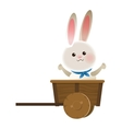 rabbit cartoon in wagon icon vector image vector image