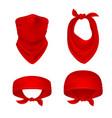 red bandana cowboy or biker face scarf bandanna vector image vector image