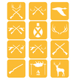 Set of hunting emlem and ecvipment icons vector image