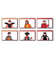 set people in masks wearing different costumes vector image