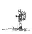 sketch man trekking with big backpack hand vector image vector image