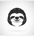 sloth head design on white background wild vector image