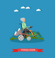 wheelchair in flat style vector image