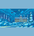 winter landscape with mountains and snow on a blue vector image