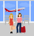 women tourists at the international airport vector image vector image