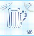 wooden beer mug line sketch icon isolated on vector image vector image
