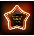 Glowing neon star frame with light bulbs vector image