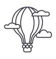 hot air balloon line icon sign vector image