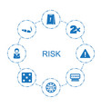 8 risk icons vector image vector image
