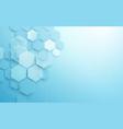 abstract blue geometric hexagon shape vector image vector image