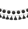 balck and white tribal pom poms and tassels vector image vector image