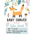 bashower invitation template with a cute fox vector image vector image