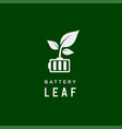 battery leaf eco nature energy renewable simple vector image vector image