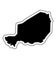 black silhouette of the country niger with the vector image vector image