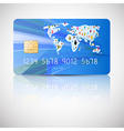 Blue Credit Card Isolated on Grey Background vector image vector image