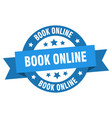 book online ribbon book online round blue sign vector image vector image