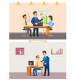 boss employer with employees meeting of team vector image vector image