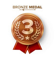 bronze 3st place medal metal realistic vector image vector image