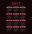 calendar for 2017 on black background vertical vector image vector image
