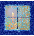 Candle shines in frozen window vector image